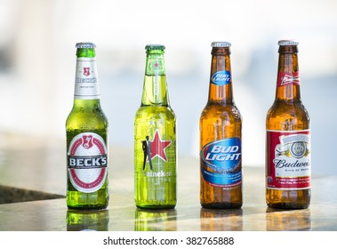 Key West, Florida, USA - January 08, 2016: Popular four bottle of assorted cold beers including Beck's, Heiniken Spectre, Bud Light and Budweiser, horizontal picture