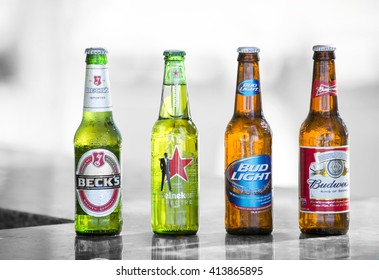 Key West, Florida, USA - January 08, 2016: Popular four bottle of assorted cold beers including Beck's, Heiniken Spectre, Bud Light and Budweiser