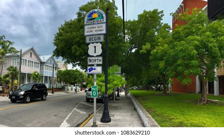 Key West, Florida, USA - July 20, 2016: Mile Zero Sign in Key West, Florida, USA. Mile Zero Sign is the starting point of U.S. Route 1 in Key West