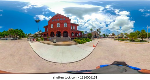 KEY WEST, FLORIDA, USA - JUNE 9, 2018: 360 vr spherical panorama image of Key West city tour street shot for virtual reality usage