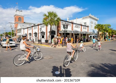 KEY WEST, FLORIDA USA - JUNE 26, 2014: The historic and popular Sloppy Joe's Bar on Duval Street in downtown Key West.