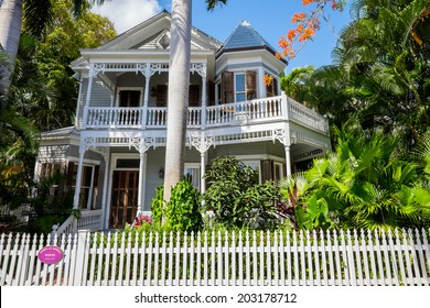 KEY WEST, FLORIDA USA - JUNE 26, 2014: The beautifully restored George T Roberts vintage home in the residential Historic District of Key West.