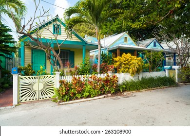 Key West, Florida USA - March 2, 2015: Beautifully restored vintage homes in the residential Historic District of Key West.