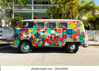 Key West, Florida USA - March 3, 2015: A classic Volkswagen Van parked in the historic district of Key West.