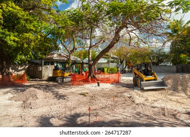Key West, Florida USA - March 2, 2015: A real estate construction project underway in the residential Historic District of Key West.