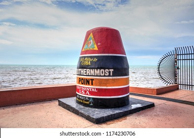Key West, Florida, USA - September 1, 2018: Southernmost Point monument in Key West, Florida. For editorial use.