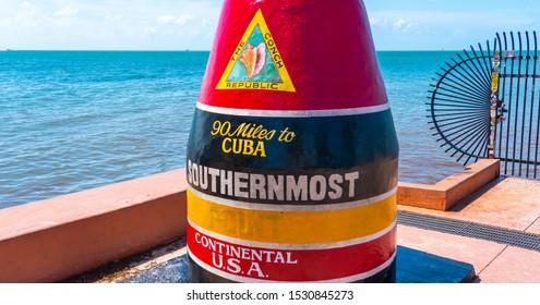 Key West, Florida, USA - September 12, 2019: Southernmost point in continental USA in key west florida
