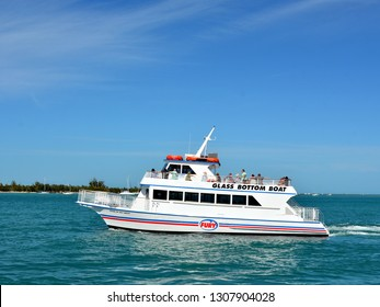 """KEY WEST, FLORIDA, USA-FEBRUARY 1, 2019:  Fury's Glass Bottom Boat """"Pride Of Key West"""" transports tourists to the coral reef for viewing the reef through the bottom of the boat, on February 1, 2019."""