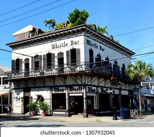 KEY WEST, FLORIDA, USA-FEBRUARY 1, 2019:  The world famous Bull and Whistle Bar, with the rooftop Garden of Eden Bar, located on Duval Street in Old Town Key West, on February 1, 2019.