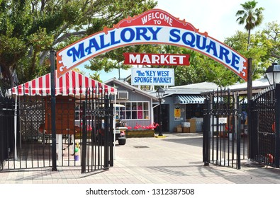KEY WEST, FLORIDA, USA-FEBRUARY 12, 2019:  The Mallory Square Market sells souvenirs and clothing to tourists visiting Key West.