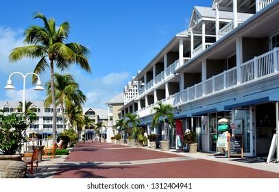 KEY WEST, FLORIDA, USA-FEBRUARY 12, 2019:  Retail shops and restaurants along the Key West Harbor Walk.