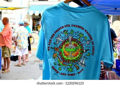 KEY WEST, FLORIDA, USA-NOVEMBER 2, 2018:  Jimmy Buffet Parrot Head fans are at the street concert at the Annual Meeting Of The Minds convention in Old Town Key West, Florida on November 2, 2018.