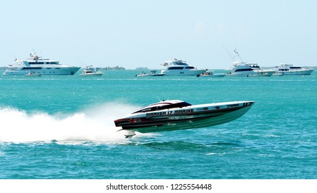 KEY WEST, FLORIDA, USA-NOVEMBER 8, 2018:  Race boats compete in the  annual Offshore Powerboat World Championships in Key West on November 8, 2018.