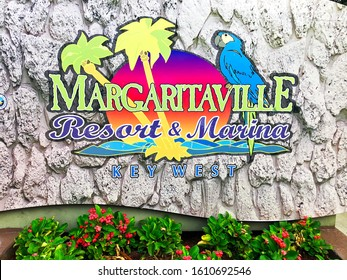 Key West, Florida-December 12, 2019:  Sign at the entrance to Jimmy Buffet's Margaritaville Resort and Marina in Key West.