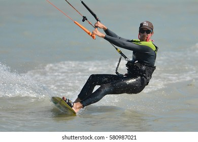KEY WEST, FLORIDA-FEBRUARY 15:  A kite surfer enjoys his sport on a windy day in Key West, Florida, on February 15, 2017.