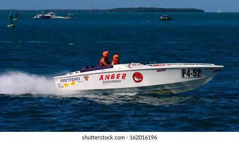 KEY WEST, FLORIDA-NOVEMBER 8:  Race boats compete in Key West, Fl., on November 8, 2013, racing in the 2013 Offshore Powerboat World Championships.