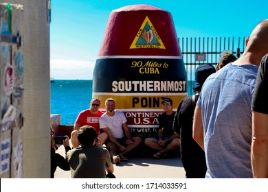 Key West, Florida/USA - January 7 2020: Southernmost point atmosphere