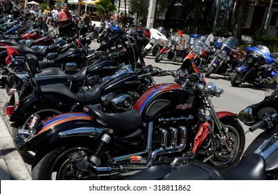 KEY WEST, FL-SEPTEMBER 19: Thousands of bikers from around the country arrive in Key West for the annual motorcycle Poker Run on September 19, 2015. The run starts in Miami and ends in Key West.