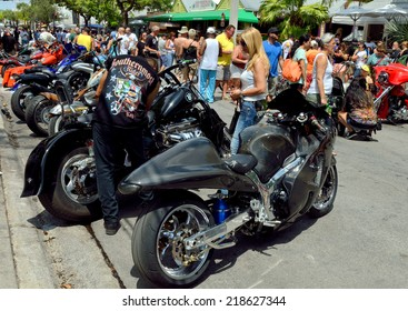 KEY WEST, FL-SEPTEMBER 20: Thousands of bikers from around the country arrive in Key West for the annual motorcycle Poker Run on September 20, 2014. The run starts in Miami and ends in Key West.
