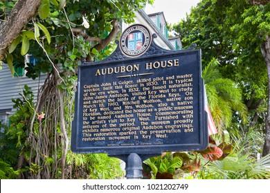 KEY WEST, FL/USA - APRIL 12, 2017 - Audubon House exterior and sign. The Audubon House is a historic landmark in the Florida Keys.