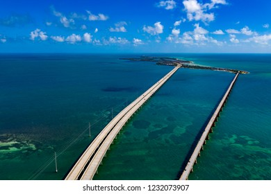 key west island florida highway and bridges over the sea aerial view panorama
