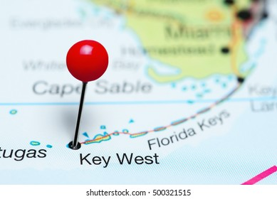 Key West pinned on a map of Florida, USA
