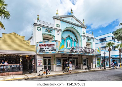 KEY WEST, USA - AUG 26, 2014: people at Key West cinema theater Strand in Key West, Florida, USA, It is a historic cinema but still in use.