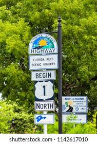 KEY WEST, USA - AUG 26, 2014: Mile Zero in Key West, highway sign No1 Florida keys