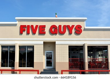 KEY WEST-JUNE 20: a Five Guys retail fast food restaurant chain in Key West, Florida, on June 20, 2017.