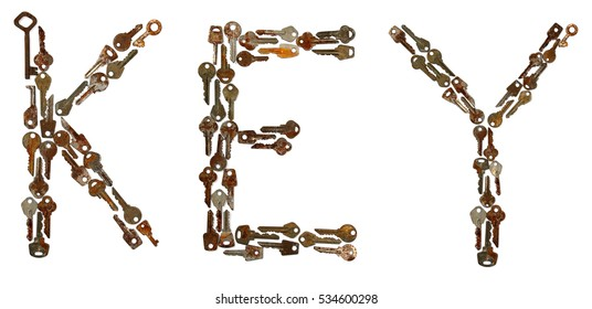 Key word inlaid rusty keys. Isolated on white background.