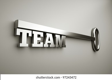 "a key with word ""team"", business concept"