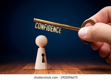 Key to your confidence is in your hand. Personal development and self-confidence concept.