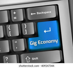 Keyboard 3D Illustration with Gig Economy wording