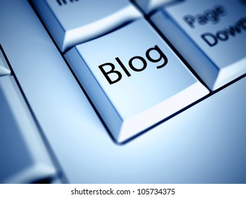 Keyboard with Blog button, internet concept