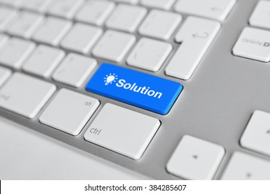 A keyboard with a blue button - solution