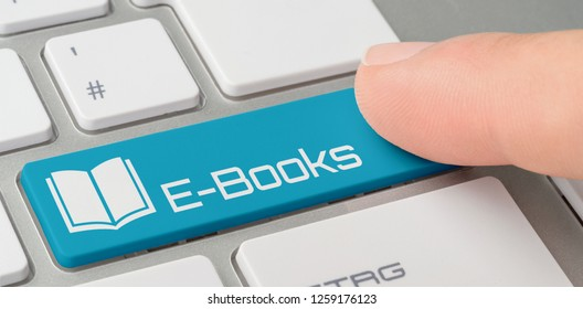 A keyboard with a blue labeled button - E-Books