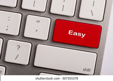 keyboard button with word easy