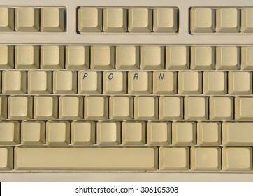 Keyboard with buttons making word p o r n  in a row