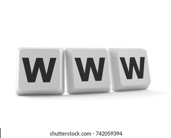 Keyboard buttons with WWW text isolated on white background. 3d illustration