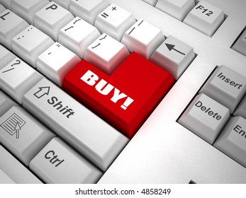 """Keyboard with """"buy"""" button 3d"""