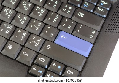 Keyboard Close up Focus in Enter Key