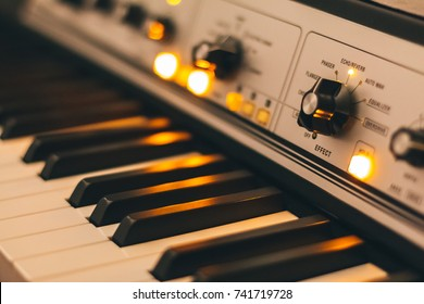 Keyboard closeup with effect settings in the recording studio