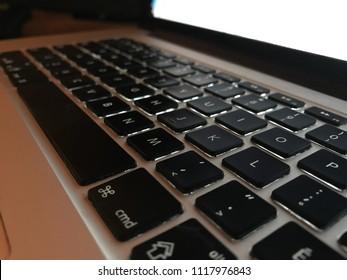 Keyboard closeup at night