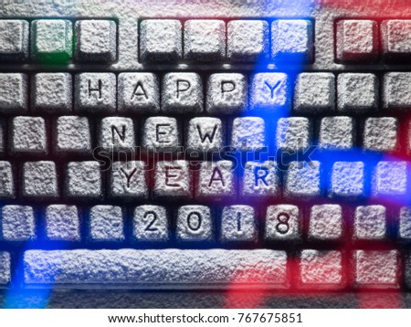 Keyboard Covered Snow Title Happy New Stock Photo Edit Now