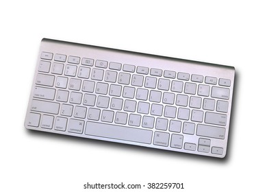 Keyboard Digital computer equipment with white input keys isolate background