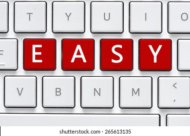 Keyboard with easy buton. Computer white keyboard with easy button