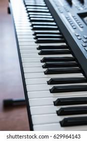 Keyboard electronic musical synthesizer close-up