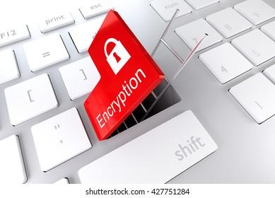 keyboard enter key revealing underpass ladder encryption 3D illustration