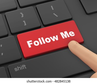 keyboard with  Follow Me button, 3d rendering