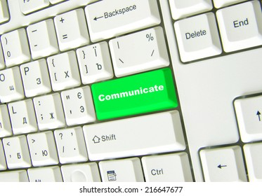 Keyboard with green button of communicate